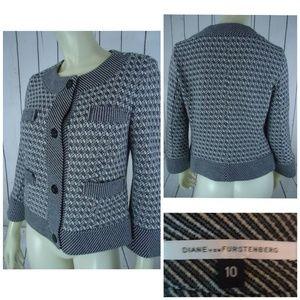 Diane Von Furstenberg Sweater Blazer 10 Stretch
